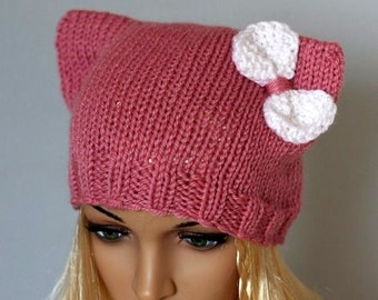 bd706457fae Ladies beanie   Pink Cat  ! Hand knitted