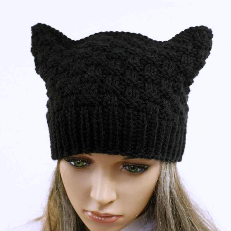seamless.Knit turquoise Hat Cat Ears Hat Cat Accessories hat Hat Cat.Ladies beanie /'/'Russet Cat/'/' CHOOSE COLOR Hand knitted