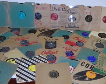 """Lot of (12) 78 RPM 10"""" Records in sleeves random 20's-60s Jazz Big Band Pop 1940's Records"""
