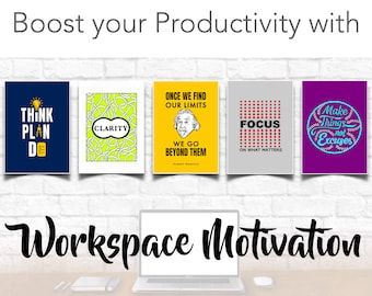Productivity Motivation Pack for your inspiration for colouring - workspace, home office, student, college, school, work from home
