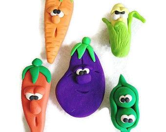 Polymer Clay Vegetable Fridge Magnet Set