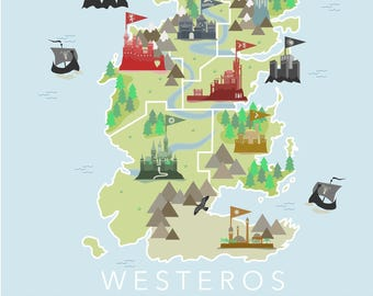 Game of Thrones Illustrated Map of Westeros - Digital Download