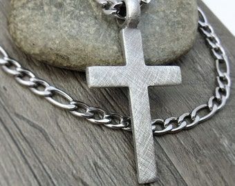 Men's Cross Necklace, Christian Jewelry - Rustic Cross Pendant with Bulky Stainless Steel Figaro Chain