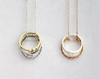 wedding ring in necklace bridesmaid gift Two rings necklace silver stainless steel everyday necklace minimal necklace bridal jewelry