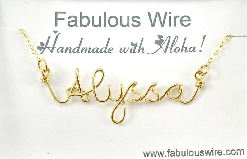 11bbafc1e07f4 Name Necklace, Personalized Wire Name Jewelry, Custom Made Wire Writing  Name Or Word Necklace, Sister, Friend, Bridesmaid Gift