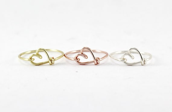 Blushing Sweetheart Ring ~ Rose Gold filled Ring Heart Ring Wire Wrapped Ring Pearl Ring Adjustable