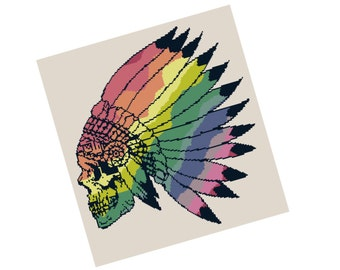 Rainbow Skull and Headdress Cross Stitch Pattern - Modern Cross Stitch Pattern - Rainbow Cross Stitch Pattern - Geometric Animal
