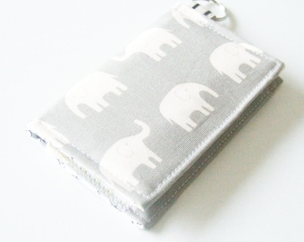 Wallet - Business Card Holder - Wallet - Key-chain Wallet - Elephant Fabric