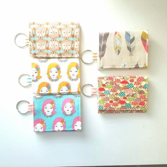 Kawaii Business Card Holder Keychain Wallet Small Fabric Etsy