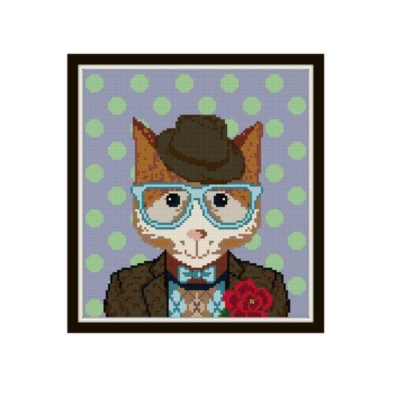 Dapper Cat Cross Stitch Pattern Cat Cross Stitch Pattern   Etsy