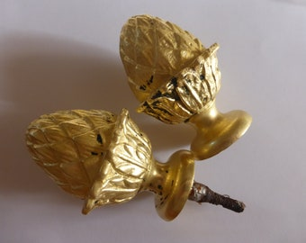 Finials Hospitable French Antique Architectural Pair Of Wood Curtain Finials Tie Backs Post