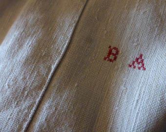 Thick Pure Linen, Hemp,  Men's Nightshirt, Chemise, Shirt,  Antique ,French  Circa late 1800's