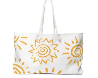 Sun Weekender Bag, sunny tote, summer tote, weekend tote, luggage, bag