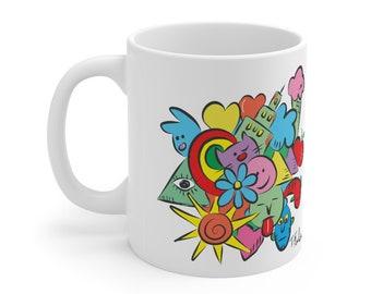 Tom Falco original design Tomversation Ceramic 11 oz. mug, coffee mug, tea mug, artist mug, art