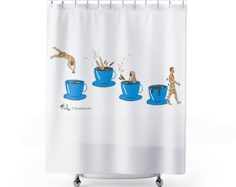 Coffee Shower Curtains, Tomversation cartoon shower curtain, bathroom, cafe, caffe, bathroom decor