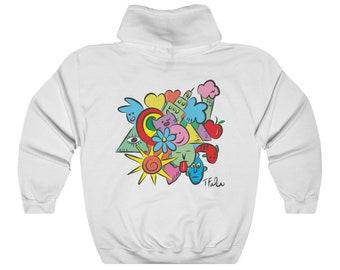 "Tom Falco ""Tomversation"" unique art Unisex Heavy Blend Hooded Sweatshirt, artist brand, designer hoodie"