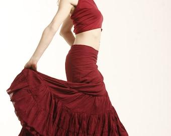 FLAMENCO SKIRT, maxi skirt, wrap Skirt, GYPSIE skirt, long skirt, CVskfl