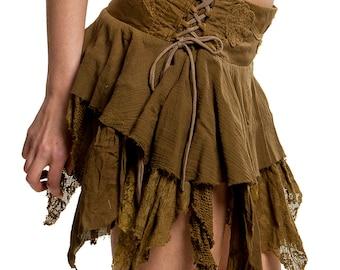 STEAMPUNK SKIRT, Elf skirt, pixie skirt, gypsie skirt, fairy skirt, ragged skirt, festival skirt, vegan gift, Coskkts