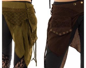 STEAMPUNK utility belt, junk Gypsy, Pocket BELT, hip pack, waist pack, fanny pack, festival clothing, vegan gift, Mfbepp