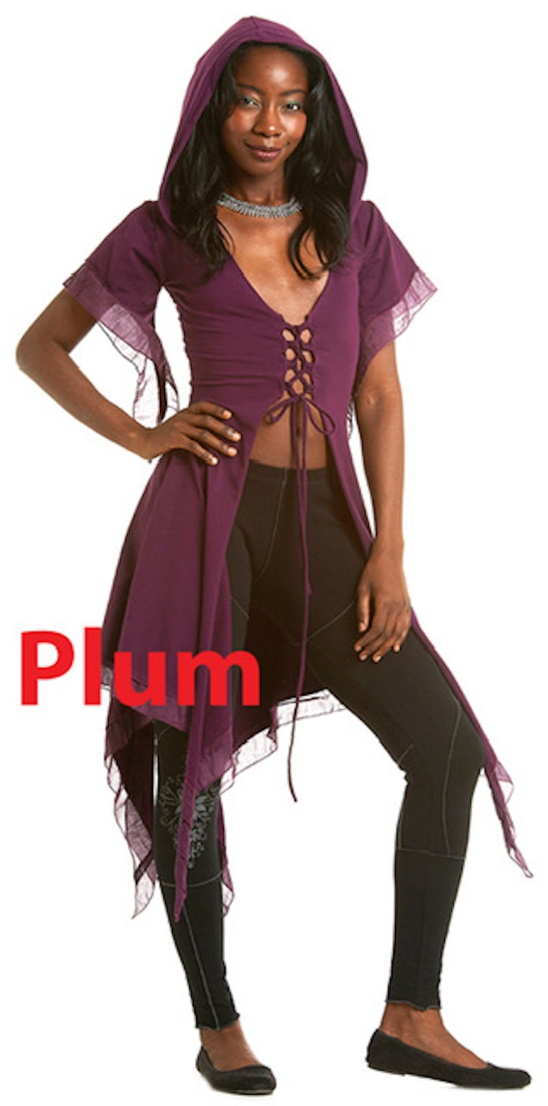 long fairy top elf top STEAMPUNK Top laced up t-top Front lacing Jacket PIXIE HOODIE psytrance top LcjkKS