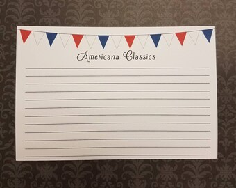 Recipe Cards, Red, White and Blue, Americana Classics, 15ct