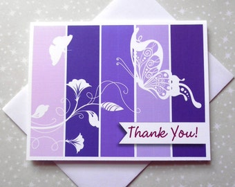 Royal Butterfly, Purple, Color Block Thank You Cards 8ct