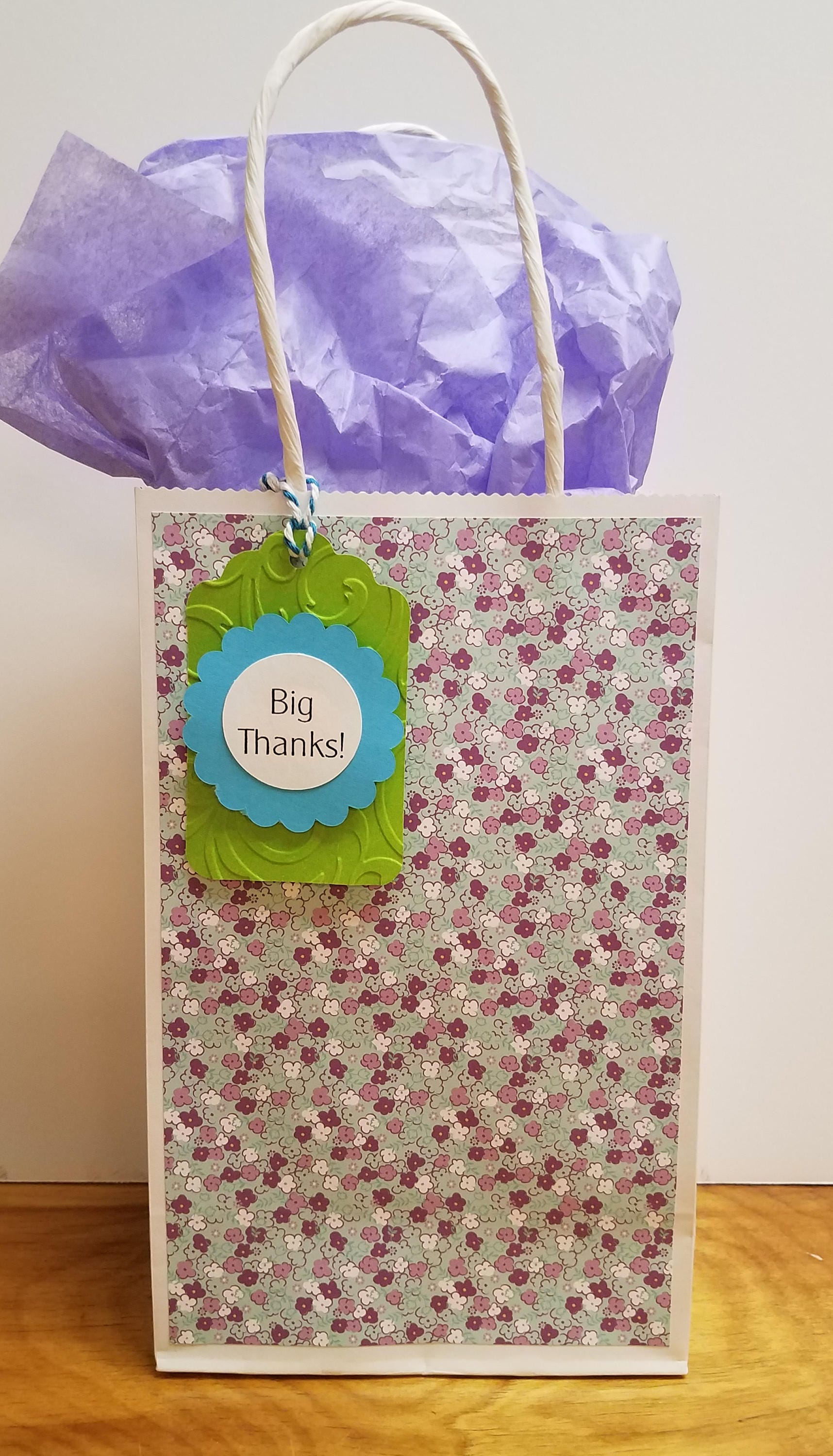 Small Gift Bag Tiny Purple And White Flowers Big Thanks Etsy