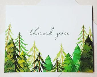 Green Forest Trees, Watercolor Thank You Note Cards 8ct