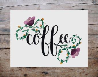 Floral Coffee Print