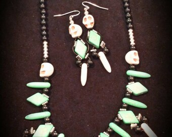 Aztique Beaded Necklace and Earring Set