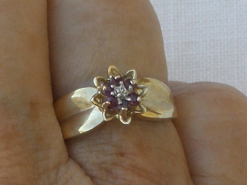 Ruby and Diamond in 10K Gold Free Shipping Vintage Ring