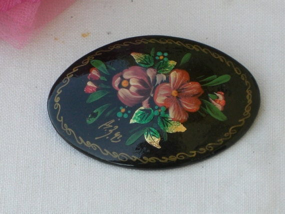 Brooch - Russian Lacquer Hand Painted Flowers - Vi