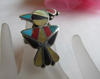 Ring - Sterling Silver - Zuni - Stone Inlays - Vintage