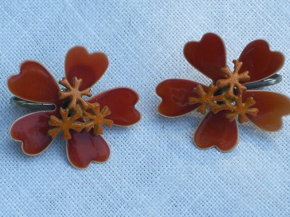 Flower Earrings - Orange Enameled Clip On Earrings