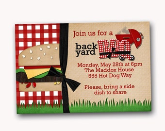 Summer BBQ invitation, barbecue party invitation, printable