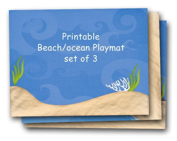 Printable Play Mat Beach And Ocean Scenes Playmat Set