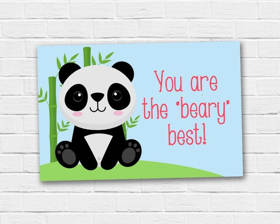 Panda Bear Teacher Appreciation Tag School Gift Ideas Digital File Instant Download Printable Pdf File Thank You Note Card