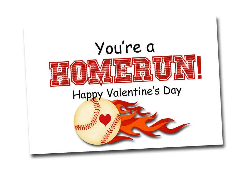 Baseball Valentine Digital File Printable Instant Download Pdf Sports Valentine Card Class Valentines