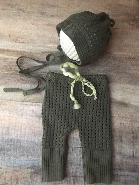 2a5e1a9218f3f Olive green Newborn Bonnet and pant set Baby bonnet hat Upcycle Knit  Photography Prop