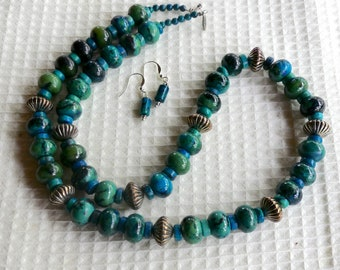 27 Inch Chunky Chrysocolla and Silver Necklace with Earrings