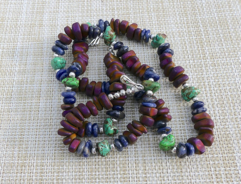 29 Inch Chunky Southwestern Matt Finish Purple Hematite and Green Turquoise Nugget Necklace with Earrings Blue Sodalite