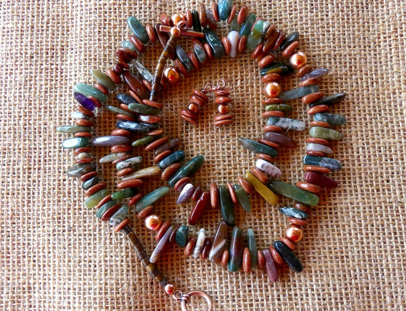 30 Inch Fall India Agate and Copper Stick Bead Necklace with Earrings