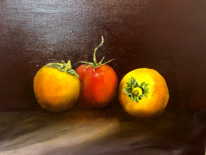 Original Oil Painting of Persimmons and Tomato