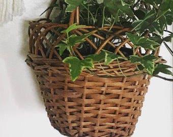 Hanging Basket Planter - Wicker Planter - Vintage Planter - Hanging Planter
