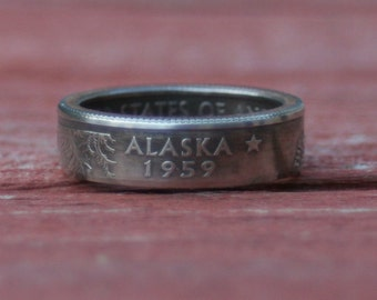 coin ring state quarter ring US coins USA Coin Jewelry Gifts for himPurity ring Band Deployment gift silver ring men silver rings pinky ring