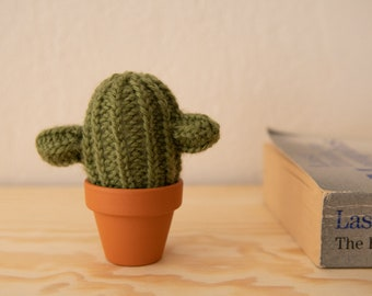 knitted cactus, wool and alpaca, handmade deco, office decoration, crochet cacti, pin cushion cactus