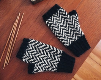 Black Lodge fingerless gloves, chevron pattern, handmade, womens size S, twin peaks inspired, alpaca