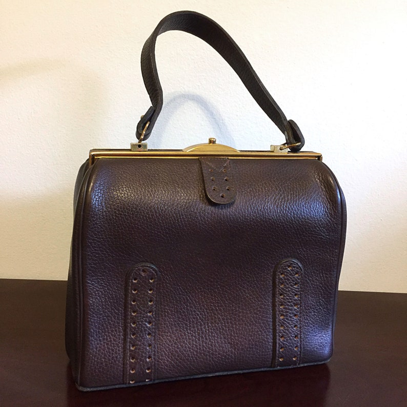 183ada583a Vintag 1960s Brown Faux Leather MARGOLIN handbag