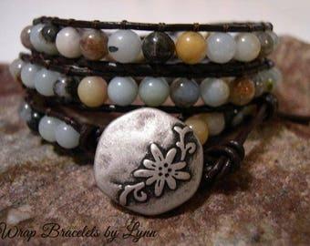 Beaded Leather Wrap Bracelet, Beaded wrap bracelet, Boho Bracelet - 1002