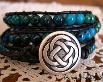 Beaded Leather Wrap Bracelet, Beaded wrap bracelet, Boho Bracelet - 988